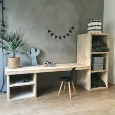 Beautiful wooden jetty console with storage compartments. The craft table is huge for your children, and provides endless fun. Boy And Girl Shared Bedroom, Kids Bedroom, Wooden Scaffolding, Childrens Desk, Kids Office, Diy Home Decor, Room Decor, Kid Desk, Cool Woodworking Projects