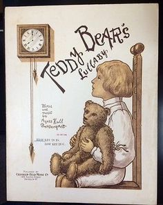 "RARE! 1907 ""TEDDY BEAR'S LULLABY"" SHEET MUSIC, HUGE TEDDY! STEIFF? -- Antique Price Guide Details Page"