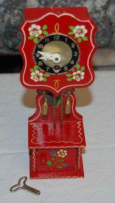 German Hand Painted Miniature Wood Grandfather Clock