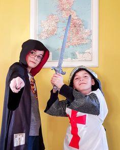déguisement Harry Potter et chevalier anglais pour le carnaval de l'école.