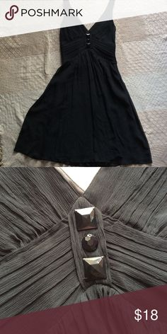 Little Black Party Dress Beautiful textured fabric. Lined dress. Geometric embellishment. Side zipper. No stretch. Dresses
