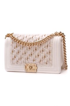The Chanel Handbag Boy Beaded Tweed Medium - White Leather Shoulder Bag is a top 10 member favorite on Tradesy. Save on yours before they're sold out! Chain Shoulder Bag, Leather Shoulder Bag, Chanel Handbags 2017, Mein Style, Vintage Handbags, Luxury Bags, Fashion Bags, Divas, Tweed