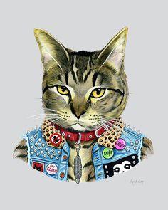 Cat art print - Punk Rock Cat