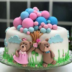 Baby Shower Cake It& a vanilla cake that has a white mass Fondant Cakes, Cupcake Cakes, Fondant Toppers, Gateau Baby Shower, Baby Shower Cakes, Cake Decorating Designs, Cake Designs, Twin Birthday Cakes, Pink Birthday