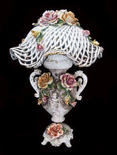 Large Capodimonte Lamps | Capodimonte Large Spaghetti Roses Lamp(SN3615-R) (SN-V-3615-ORO-ROSES)