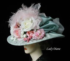 Divine tea party hat! --> cover it completely in fabric and it doesn't matter what the hat looks like!