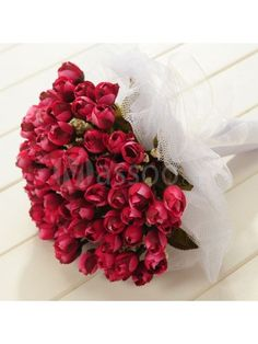 Tulle Wrapped Ruby/Red Rose Wedding Flower for Wedding Party MS20ZC345