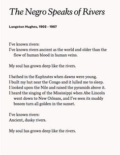 An amazing piece of poetic genius from The Collected Poems of Langston Hughes, published by Alfred A. Knopf, Inc. Copyright © 1994 the Estate of Langston Hughes.