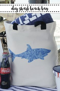 Use Cricut Infusible Ink Patterned Transfer Sheets to create a fun watercolor style shark beach bag with the DIY from Everyday Party Magazine #SharkWeek #CricutInfusibleInk
