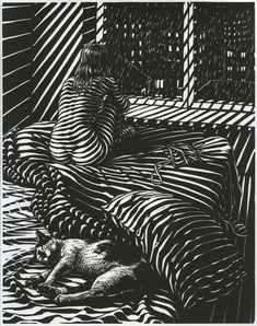 A linocut from Giacomo Patri's 1940 wordless novel depicting the hard times of an artist during the Great Depression titled White Collar. Description from pinterest.com. I searched for this on bing.com/images