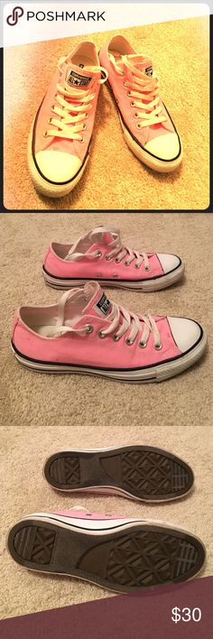 Converse tennis shoes Converse ALL STAR chucks. Baby pink! Gently worn one time for a costume! Rubber is very clean. Wear is as pictured. Laces are white with no wear. Women's size 7. Converse Shoes Sneakers
