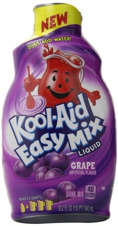 Kool Aide Easy Mix Drink Mix Grape, 2 bottles, 18.2 oz each, makes 12 quarts. Easy to pack. Use it at home or take it with you and keep it handy. Your kids will love it!