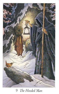 The Hooded Man, from the Wildwood Tarot. Deck by Mark Ryan and John Matthews. Art by Wil Worthington. Tarot Card Decks, Tarot Cards, Wildwood Tarot, The Hermit Tarot, The Magician Tarot, Tarot Major Arcana, Winter Fairy, Deck Of Cards, The Magicians