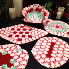 Hard Candy plates & bowl. To make arrange candies on parchment paper, bake for 10 minutes @ 350. Cool. To make bowl, let bowl form set for about 2-3 minutes then shape over a glass bowl. Let dry.