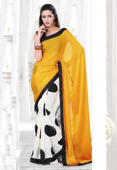 Yellow and off white faux chiffon jacquard and faux georgette half half dot printed saree.As shown black faux crepe blouse fabric can be made available and also can be customized upto 44 inches as per your style or pattern subject to fabric limitation. (Slight variation in color and patch border work is possible). data-pin-do=
