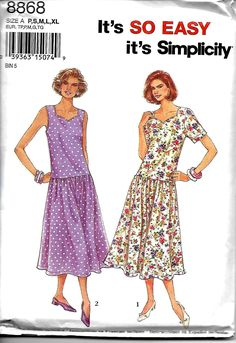 Simplicity 8868 Misses Pullover Sweetheart Dress Pattern, Short Sleeve And Sleeveless, P-XL, UNCUT by DawnsDesignBoutique on Etsy