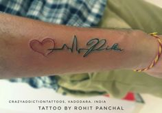 Heartbeat with pinku name Tattoo by Rohit Panchal at CrazyAddictionTattoos