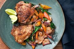 Coriander Chicken Thighs with Miso-Glazed Root Vegetables / photo by Charles Masters