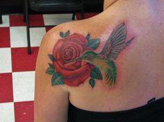 rose and humming bird  | Michael Arneson - rose and revaped hummingbird