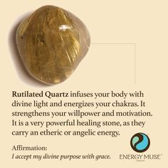 Rutilated Quartz infuses your body with divine light and energizes your chakras. It is a very powerful healing stone, as it carries an etheric or angelic vibration. #rutilatedquartz #healing #angels #crystals: