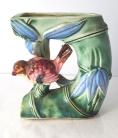 Bird in bamboo cut-out figural vase vintage Florart Made in Japan