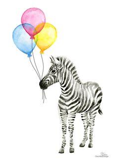 Zebra Watercolor Baby Animal Art Print Whimsical by OlechkaDesign
