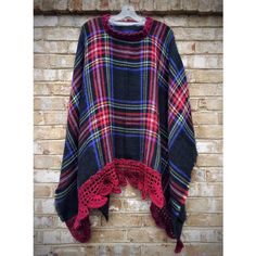 Fashion Plaid Poncho Wrap Crochet Shawl Cape Plaid Wrap Shawl Unique... (5 200 UAH) ❤ liked on Polyvore featuring outerwear, wool poncho, blue cape, plaid capes, wrap shawl and wrap cape coat