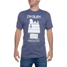 Peanuts Men's Snoopy I'm Busy Graphic Tee, Size: Medium, Blue