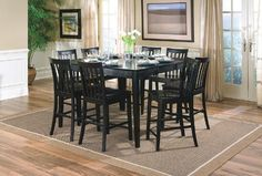 Check out this Springfield Black Dining Room Table from Coaster for a comfortable and elegant dining room set at a great discounted price. Featuring solid wood counter height table this set comes in a rich black finish. This counter height dining room Black Dining Room Table, Dining Table With Leaf, Dining Room Furniture Sets, Dining Room Sets, Dining Table In Kitchen, A Table, Coaster Furniture, Fine Furniture, Dining Tables