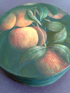 Here's an old project I recently discovered on the bottom of a shelf. It's called Gala Apples and was a pattern packet/teaching design for several years. Apples were painted with cotton swabs.