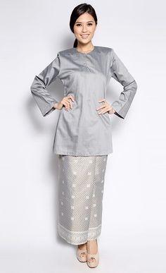 Songket Kurung in Grey :: Jakel   via FashionValet