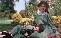 Two girls together in a garden, the photographer's daughters, 1908, Etheldreda Laing