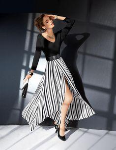 Langer Rock mit Schwarz-Weiß-Streifen in der Farbe schwarz / weiß - weiß, schwarz - im MADELEINE Mode Onlineshop