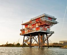 REM-Island: 1964 Pirate Radio Station Sea Platform Transformed into Amazing Amsterdam Restaurant. Gorgeous views, so be there before sunset!