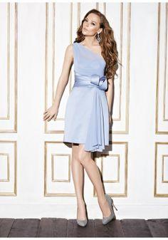 One Shoulder Knee Length Chiffon Purple A Line Bridesmaid Dress