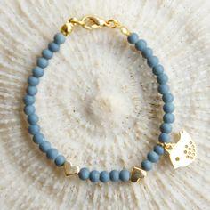 Gypsy bird Bracelet Matte blue beaded bird charm by CharmByIA