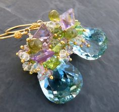 Aquamarine earrings amethyst peridot gold vermeil watercolor mermaid bride gemstone jewelry statement dangle cluster drop -Brindisi-