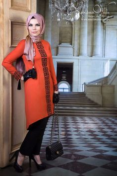 Tunic orange color with fancy black embroidery. Muslima Wear. S, M, L, XL! #MuslimaWear #Tunic #EveningOccasion