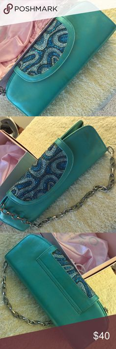 "Sacco 1823 clutch purse turquoise with rhinestones Clutch purse is gorgeous! 10"" long with flip over snap closure. Comes with chain also. Original box and dust bag. Sacco 1823 Bags Clutches & Wristlets"