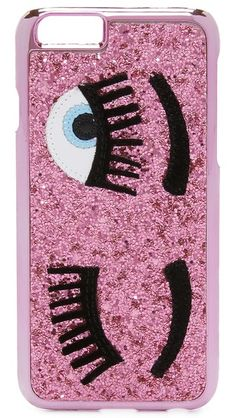 Winking eyes accent the glitter-covered shell of this bold, playful Chiara Ferragni iPhone case. Formfitting construction with button, cord, and camera access.  Fits iPhone 6 & iPhone 6s.