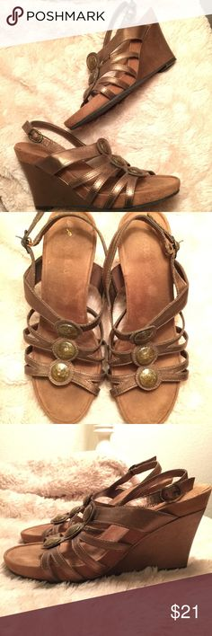 """Flash Sale! Aerosoles Wedge Sandals *Size: 8 *Wedge heel is approx. 4"""" *All manmade materials *Bronze wedge and straps with beautiful abalone resembling embellishments  *Have been worn twice, great condition!  Tags:  Aerosoles wedge heels sandals shoes deals bundle size 8 AEROSOLES Shoes Wedges"""