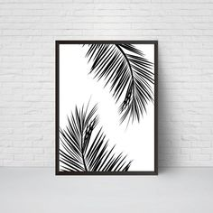 Palm Leaves Wall Art Print Beach House Leaf Decor by EVEprints