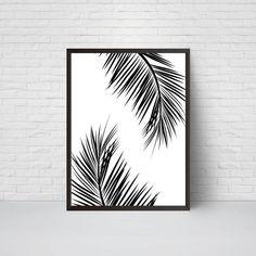 Palm Leaves Wall Art Print Beach House Leaf Decor by EVEprints