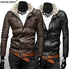 USRUER-YEEZY Jaqueta De Couro Masculino High Quality Male Leather Jacket Hot Hooded Multi Pocket Fashion Leather Jackets Men New