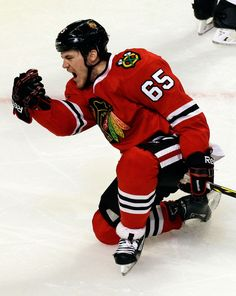 Chicago Blackhawks' Andrew Shaw celebrates after scoring a goal against the St. Louis Blues during the third period in Game 6 of a first-round NHL hockey playoff series in Chicago, Sunday, April 27, 2014. The Blackhawks won 5-1. (AP Photo/Nam Y. Huh) Eastern Conference NHL Playoffs Photos