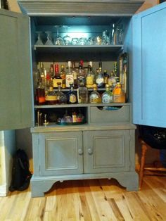 armoire made into a liquor cabinet
