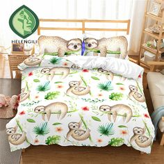Online Shop HELENGILI Bedding Set cartoon Sloth Print Duvet cover set bedclothes with pillowcase bed set home Textiles