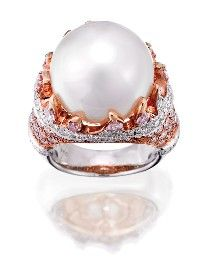SOUTH SEA PEARL, PINK DIAMOND AND DIAMOND RING    Of bombé cluster design centring a cultured pearl measuring approximately 16.00mm set above a surround of variously cut colourless and Argyle pink diamonds, all together weighing approximately 3.24 carats, mounted in 18ct white and pink gold, size L.