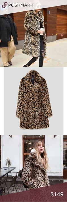 ZARA FAUX FUR LEOPARD PRINT COAT New with tag. SIZE L Zara Jackets & Coats