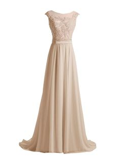 Diyouth Long Lace Flower Scoop Neck Chiffon Prom Dress Train Champagne Size 22W